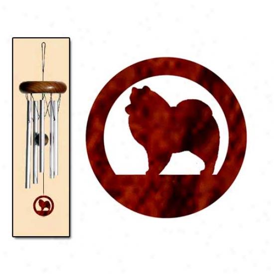 American Eskimo Dog Wind Chimes X-small Silver