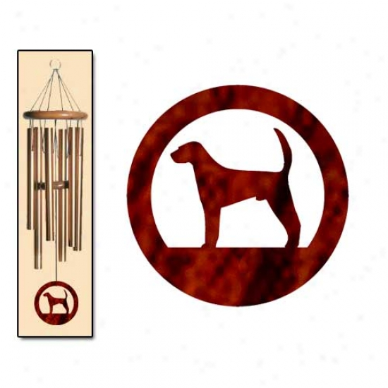 mAerican Foxhound Wind Chimes Medium Btonze