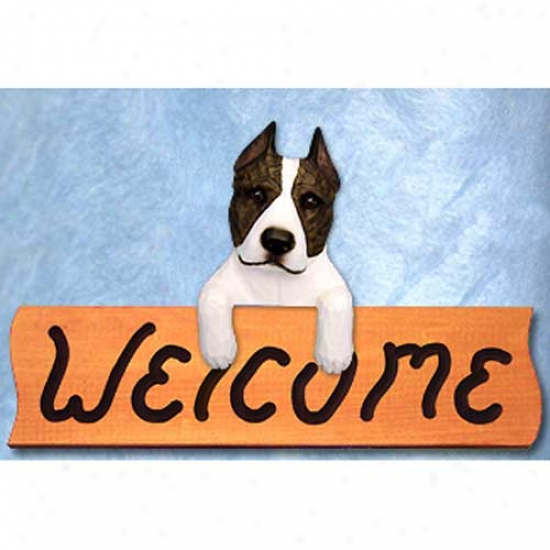 American Staffordshire Terrier Brindle And White Welcome Sign Maple