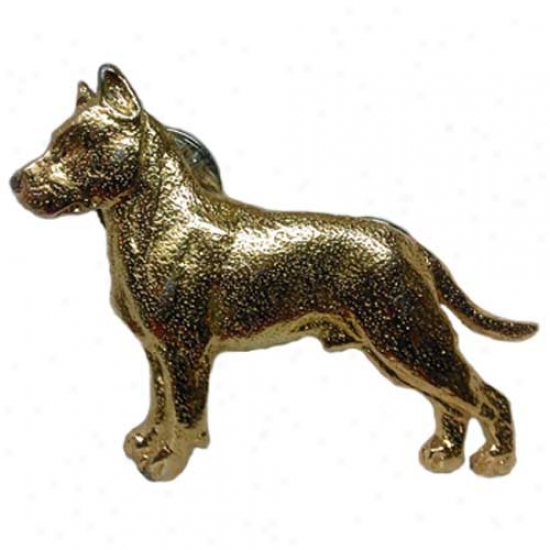 American Staffordshire Terrier Pin 24k Gold Plated
