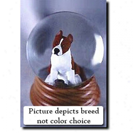 American Staffordshire Terrier (red) Musical Snow Globe