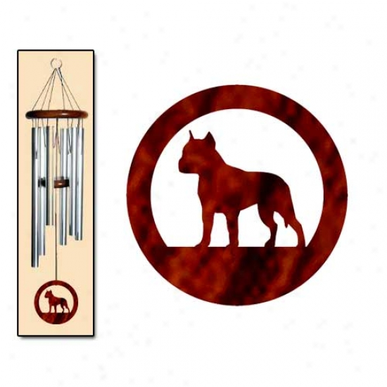 American Staffordshire Terrier Wind Chimes Means Silver