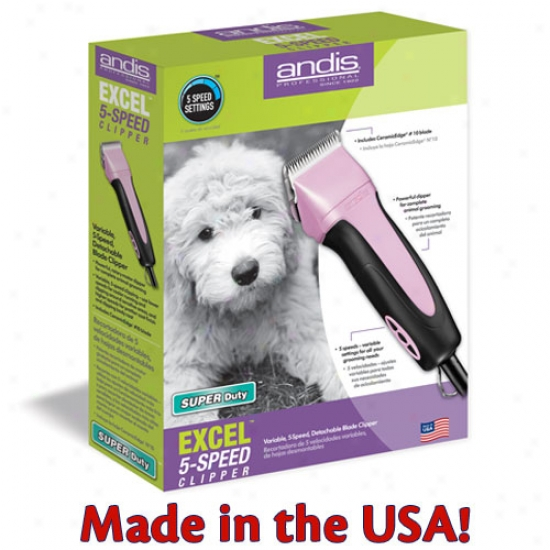 Andis Smc Excel Variable 5 Speed Clipper - Pink