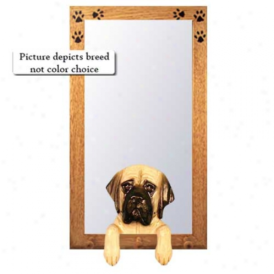 Apricot Brindle Mastiff Hall Mirror With Oak Natural Frame