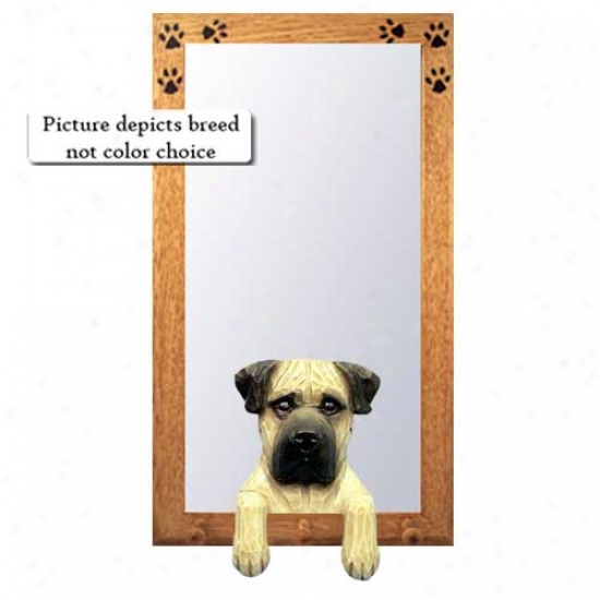 Apricot Bullmastiff Hall Mirror With Oak Ntaural Frame