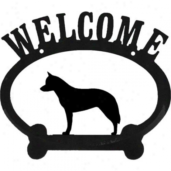 Australian Cattle Dog Metal Welcome Sign