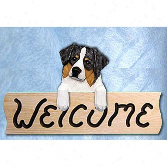 Australian Shepherd Black Tri Welcome Sign Oak