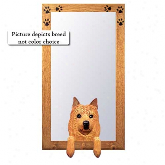 Australian Terrier Hall Mirror With Oak Natural Frame