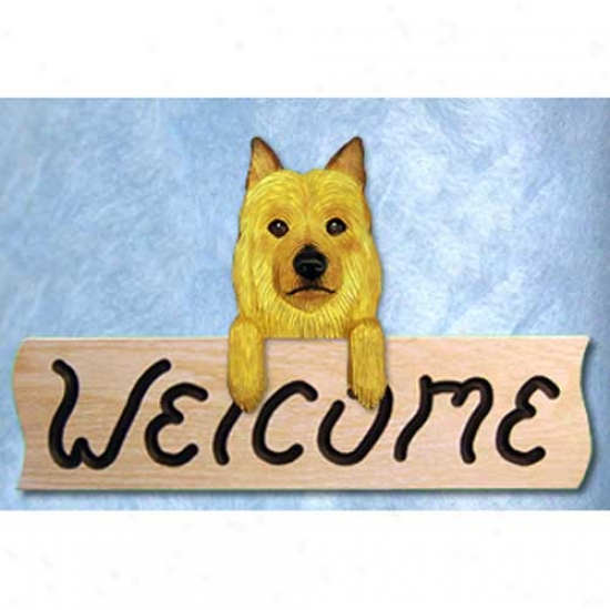 Australian Terrier Welcome Sign Oak