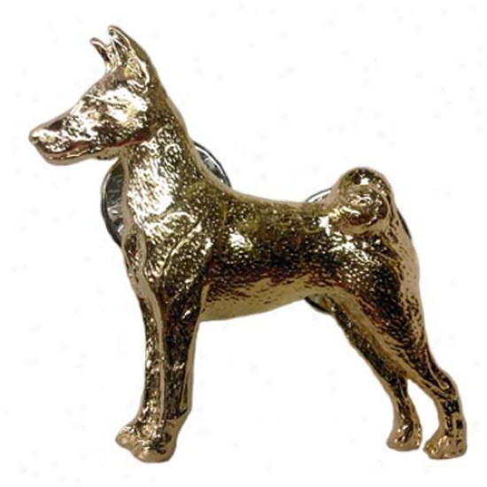 Basenji Pin 24k Gold Plated