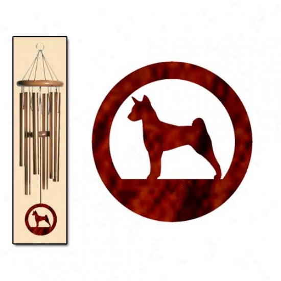 Basenji Wind Chimes Medium Bronze