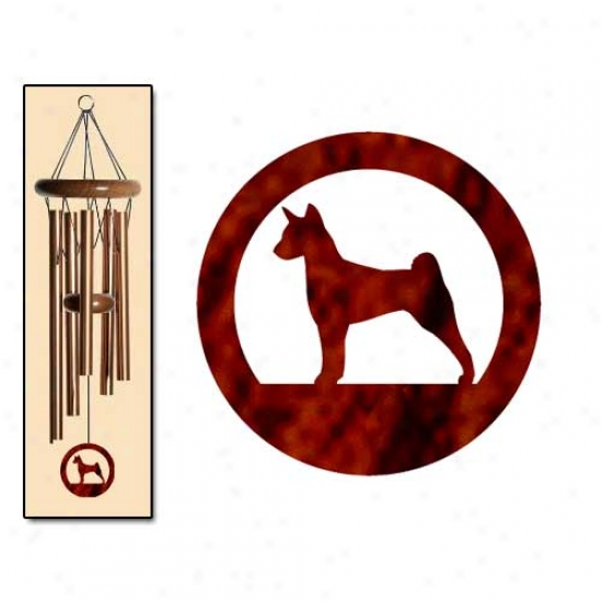 Basenji Wind Chimes Small Bronze