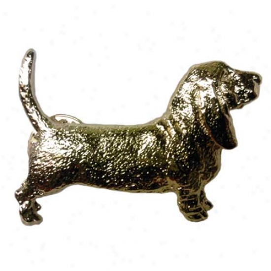 Basset Hound Pin 24k Gold Plated
