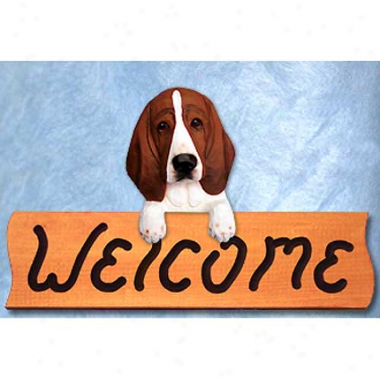 Basset Hound Red And White Welcome Sign Maple