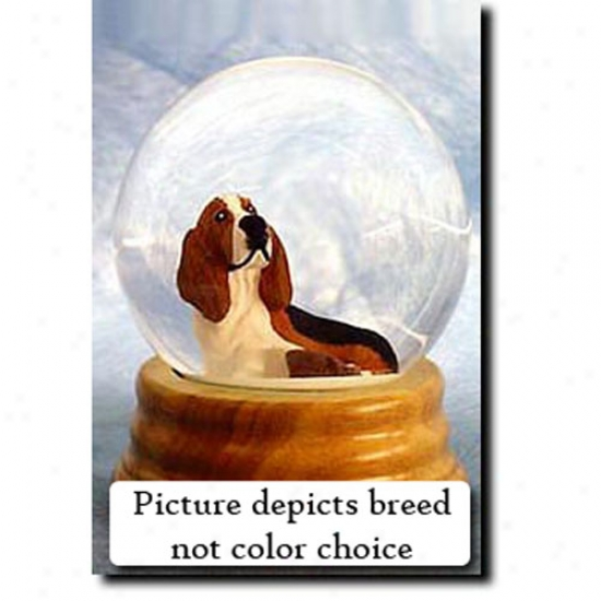 Basset Hound (tri Color) Musical Snow Globe