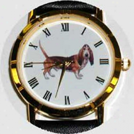 Basset Hound Watch - Small Face, Black Leather