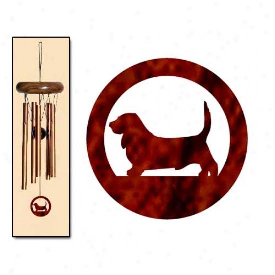 Basset Hound Wind Chimes X-small Bronze