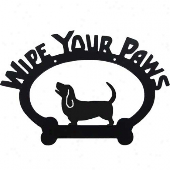 Basset Hound Wipe Your Paws Decorative Sign