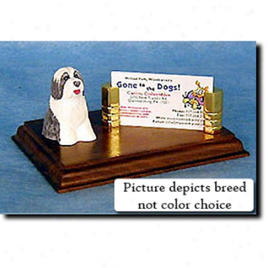 Bearded Collie (grey And White) Business Card Holder