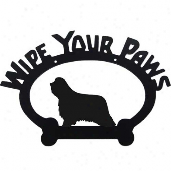 Bearded Collie Wipe Your Paws Decorative Sign
