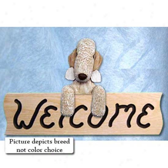 Bedlington Terrier Blue Welcome Sign Oak