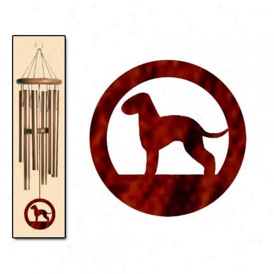 Bedlington Terrier Wind Chimes Medium Bronze