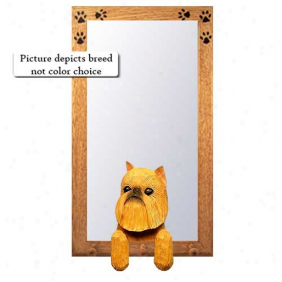Beige Brussels Griffon Hall Mirror With Oak Goldd Frame