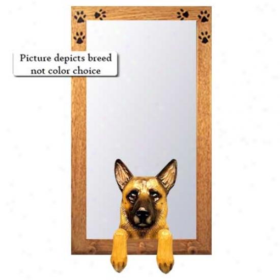 Belgian Malinois Hall Mirror With Basswood Walnut Frame