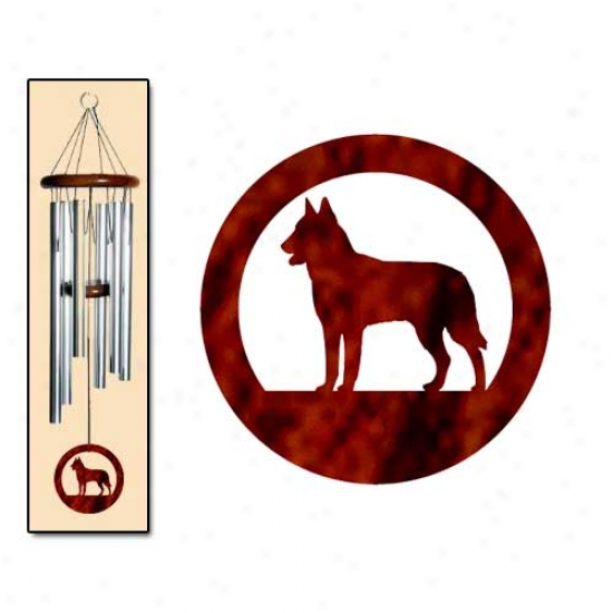 Belgian Malinois Wind Chimes Medium Sllver