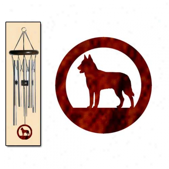 Belgian Malinois Wind Chimes Small Silver