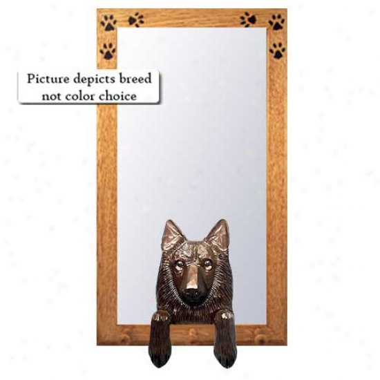 Belgian Sheepdog Hall Mirror With Basswood Walnit Frame