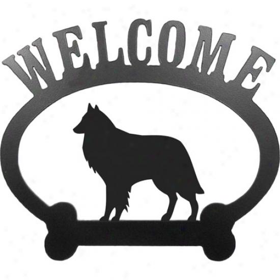 Belgian Shepdog Welcome Sign By Sweeney Ridge