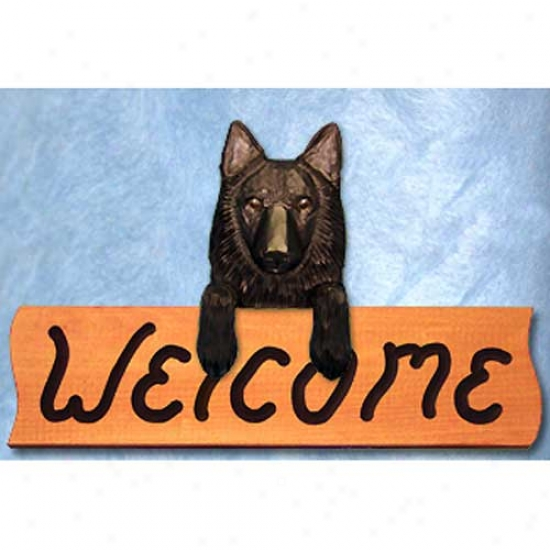Belgian Sheepdog Welcome Sign Maple