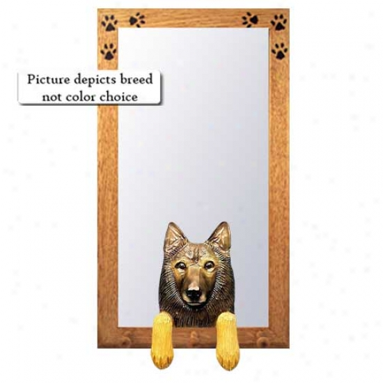 Belgian Tervuren Hall Mirror With Oak Natural Frame