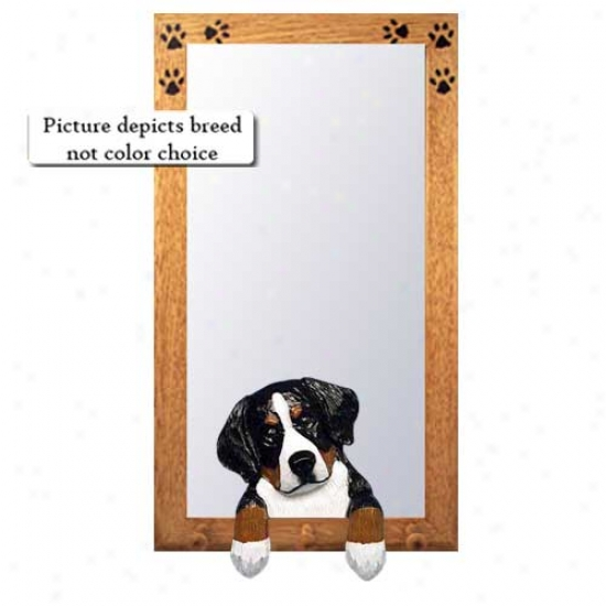 Bernese Mountain Dog Hall Mirror With Basswood Walnut Frame