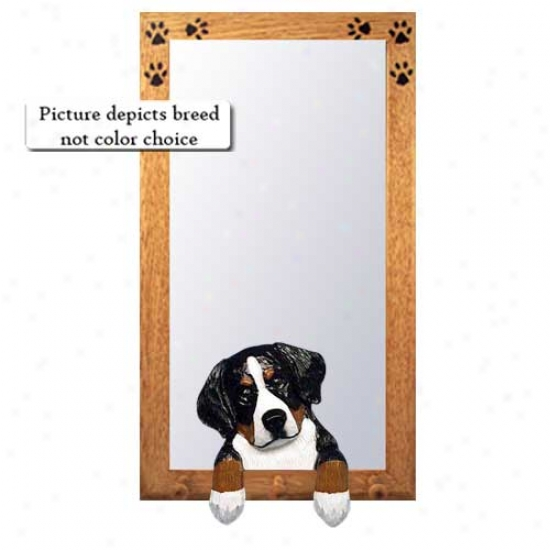 Bernese Mountain Dog Hall Mirror With Oak Golden Frame