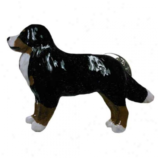 Bernese Mount Dog Hand Painted Pin