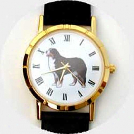 Bernese Mountain Dog Watch - Small Face, Black Leather