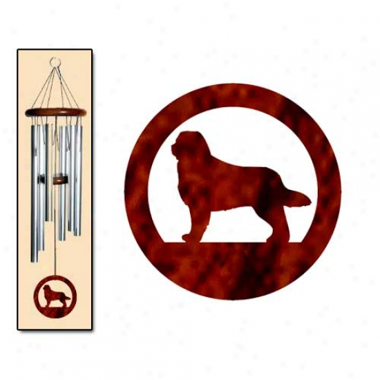 Bernese Mountain Dog Wind Chimes Medium Silver