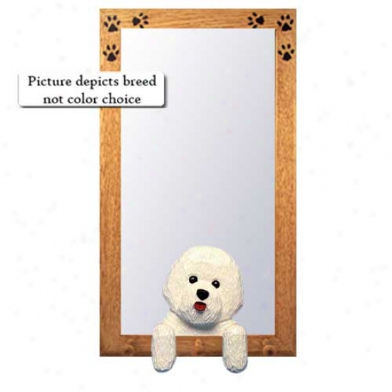 Bichon Frise Hall Mirror With Bassaood Pine Frame