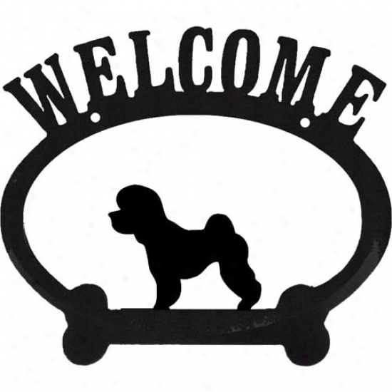 Bichon Frise Metal Welcome Sign