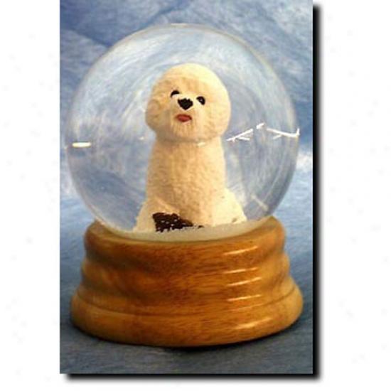 Bichon Frise Musical Snow Globe