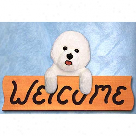 Bichon Frise Welcome Sign Maple