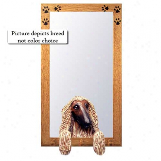Black Afghan Hound Hall Mirror With Oak Natural Frame