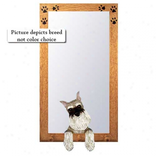 Black And Silver Miniature Schnauzer Hal lMirror Through  Basswood Languish Frame
