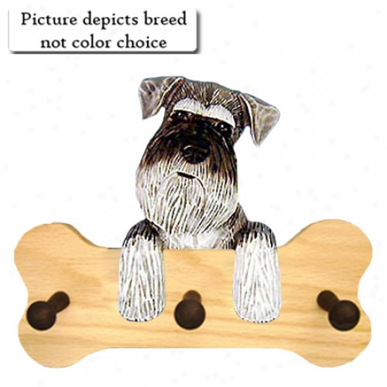 Black And Silver Schnauzer Bone Hang Up Natural Oak