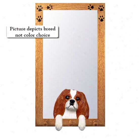 Black And Convert into leather Cavalier King Charles Spaniel Hall Mirror With Oak Natural Frame