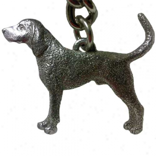 Black And Tan Coonhound Geore Harris Pewter Keychain
