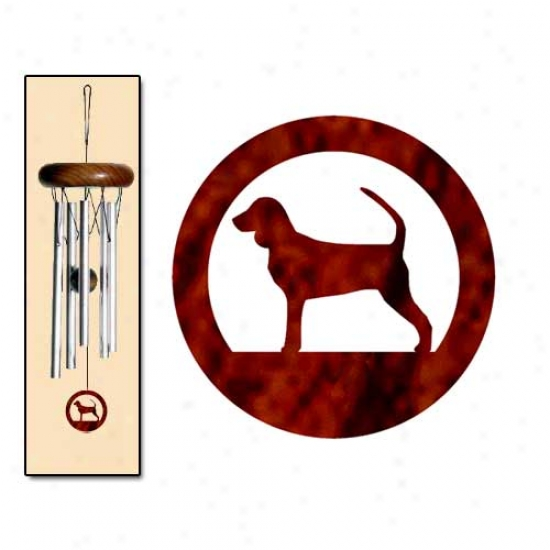 Black And Tan Coonhound Wind Chimes X-small Silver
