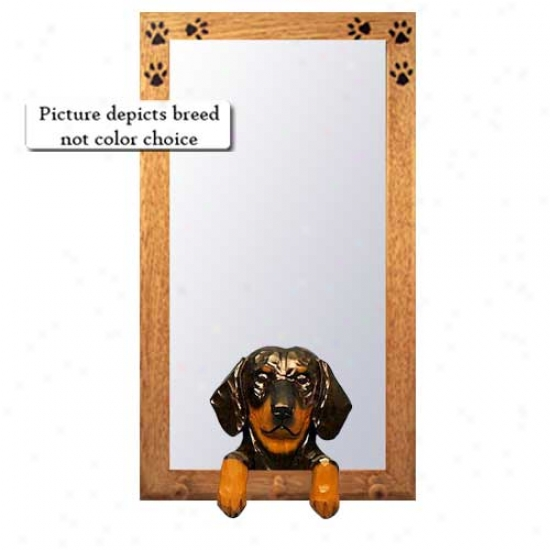 Black And Tan Dachshund Hall Mirror With Basswood Pine Frame